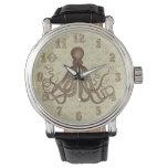 Reloj De Pulsera Pulpo de Brown del vintage con las anclas