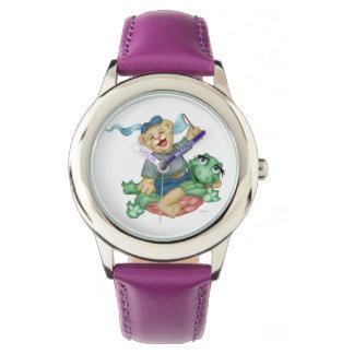 Reloj De Pulsera Púrpura del acero inoxidable del DIBUJO ANIMADO