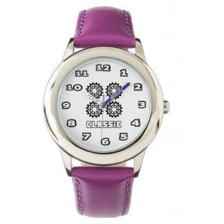 Reloj De Pulsera Púrpura del acero inoxidable del niño clásico
