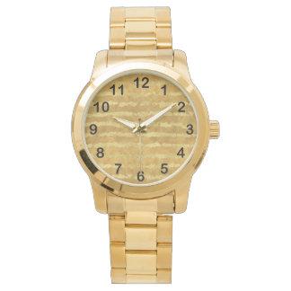 Reloj De Pulsera Rayas del encanto del oro