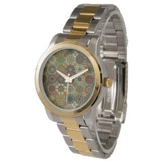 Reloj De Pulsera Remiendo del vintage con los elementos florales de