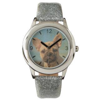 Reloj De Pulsera Retrato lindo del perrito del dogo francés -