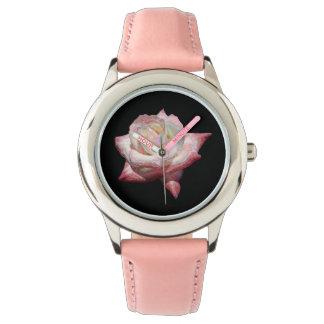 Reloj De Pulsera Rosas esmaltados rosa en negro