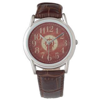 Reloj De Pulsera Rueda roja náutica decorativa única de la nave del