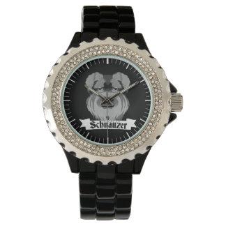 Reloj De Pulsera Schnauzer negro y gris