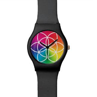 Reloj De Pulsera Semilla del arco iris de Chakras del símbolo de la
