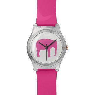 Reloj De Pulsera Silueta del elefante rosado
