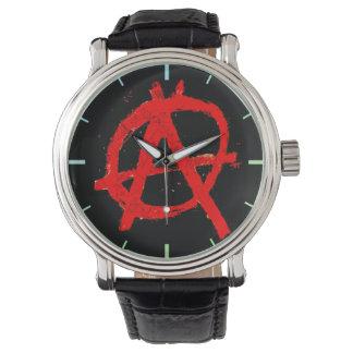 Reloj De Pulsera Símbolo rojo sucio de la anarquía