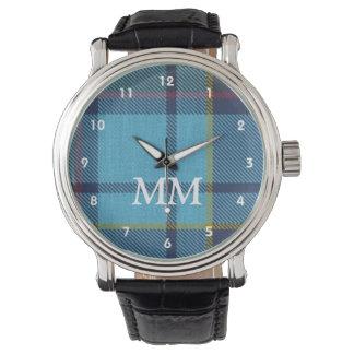 Reloj De Pulsera Tela escocesa de tartán azul con monograma