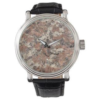 Reloj De Pulsera Textura de la roca del granito --- Blanco negro
