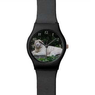 Reloj De Pulsera Tigre de Bengala blanco y negro relajado y sonrisa