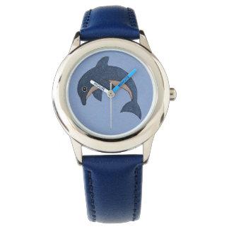 Reloj De Pulsera Tipo lindo delfín de salto blanco azul brillante