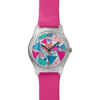 Reloj De Pulsera Triángulos, turquesa y coral modernos de los