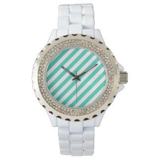 Reloj De Pulsera Trullo y modelo diagonal blanco de las rayas