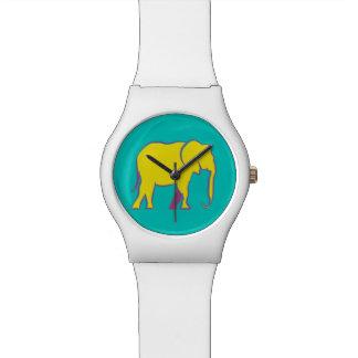 Reloj De Pulsera Turquesa vibrante de neón amarilla de la silueta