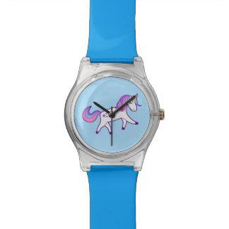 Reloj De Pulsera Unicornio mágico con la melena rosada, púrpura, y