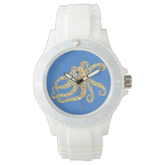 Reloj De Pulsera Vitral azul del pulpo