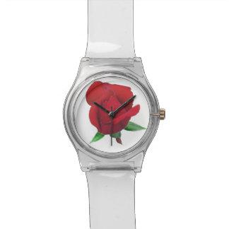 Reloj de señoras color de rosa del brote