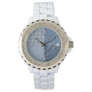 Reloj de señoras - edredón/remiendo/azules -