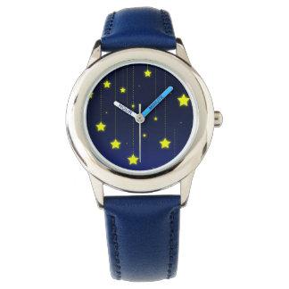 Reloj del acero inoxidable de la noche estrellada