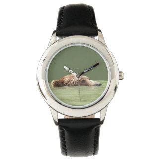 Reloj del acero inoxidable del niño con el oso