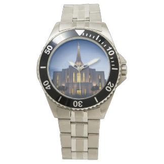Reloj del acero inoxidable del templo de Gilbert