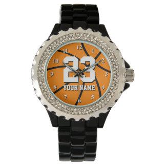 Reloj del baloncesto con número y nombre de