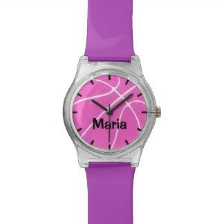 Reloj del baloncesto del chica rosado de encargo