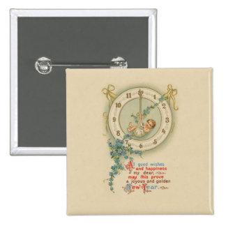 Reloj del bebé de los Años Nuevos del vintage Pin