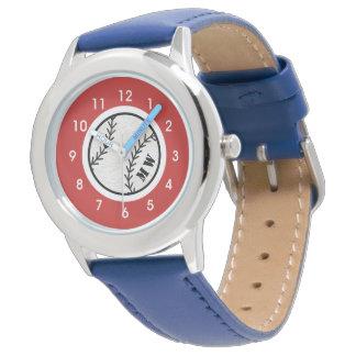 Reloj del béisbol del monograma del niño