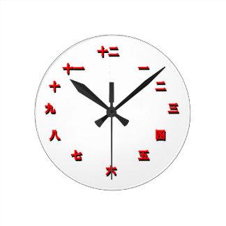 Reloj del carácter chino (rojo)