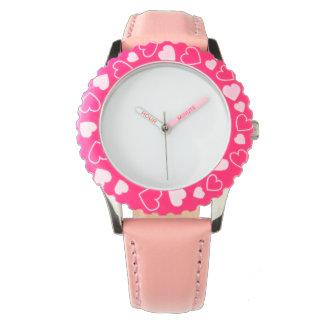 Reloj del corazón del rosa del acero inoxidable,