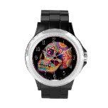Reloj del cráneo del azúcar - día del arte muerto