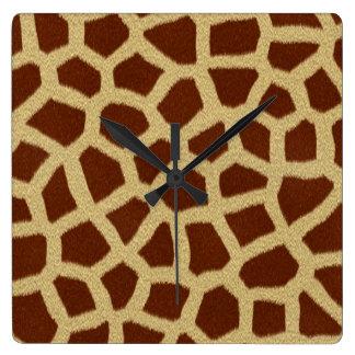 Reloj del cuadrado de la piel de la jirafa