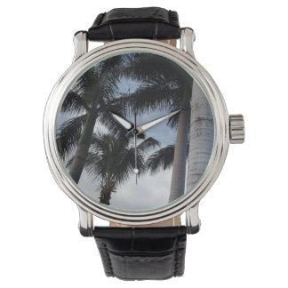Reloj del cuero de las palmeras de Tenerife