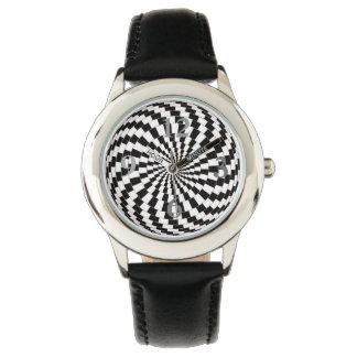 Reloj del cuero del negro del acero inoxidable de