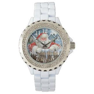 Reloj del diamante artificial de Santa del navidad