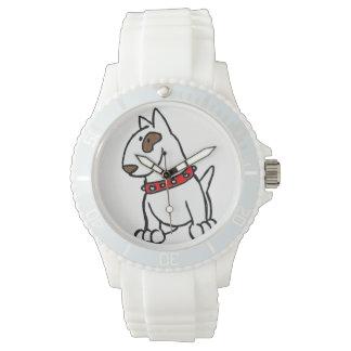 Reloj del dibujo animado de bull terrier del