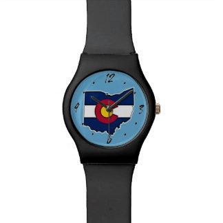 Reloj del esquema de Ohio de la bandera de