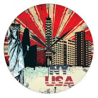 reloj del grunge del vintage de New York City los