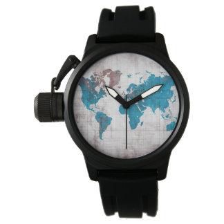 reloj del mapa del mundo