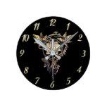 Reloj del negro de la joya de la flor del oro del
