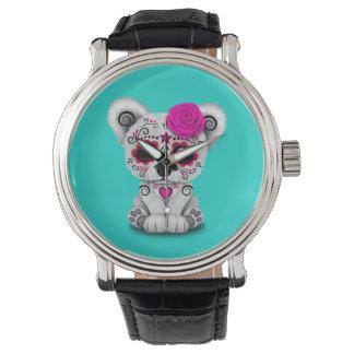 Reloj Día rosado del oso polar del bebé muerto