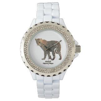 Reloj diamante de imitación de encargo del esmalte