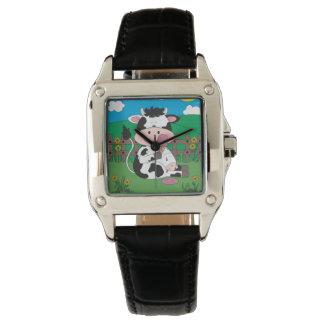 Reloj Dibujo animado lindo de la vaca del bebé