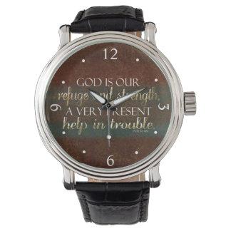 Reloj Dios es nuestro verso cristiano Brown/oro de la