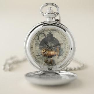 Reloj dirigible del dirigible de Steampunk y de