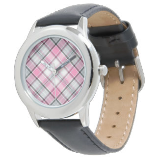 reloj diseñado verificación cruzada rosada