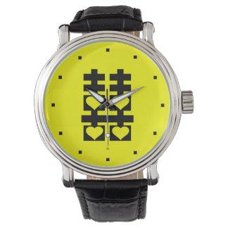 Reloj doble del amarillo del corazón del amor de