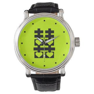Reloj doble del verde del corazón del amor de la